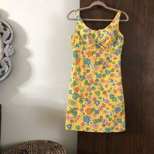 VINTAGE/ 1960s retro floral mini babydoll dress